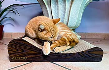 Valkyra - Griffoir pour Chats en Carton avec Balles et Herbe à Chat (Catnip) antidérapant - Jouet et Lit Panier (Bois Foncé)