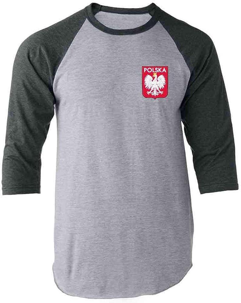 Poland Soccer Retro National Team Sport Football Raglan Baseball Tee Shirt