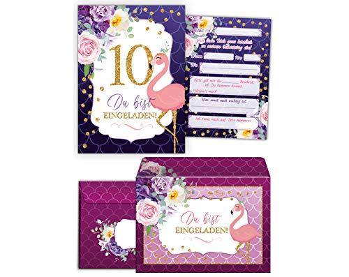 JuNa-Experten 12 Einladungskarten incl. 12 Umschläge zum 10. Kindergeburtstag Mädchen Flamingo Einladungen zum zehnten Geburtstag