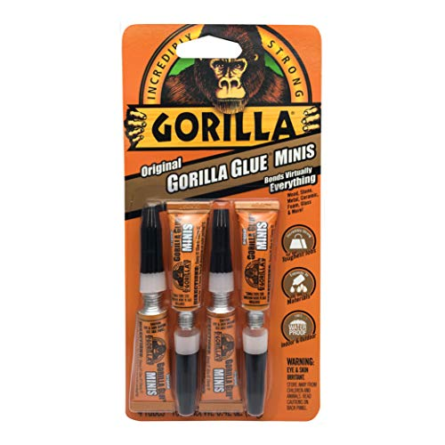 Price comparison product image Gorilla Minis,  Original Waterproof Polyurethane Glue,  Four 3 gram Tubes,  Brown,  (Pack of 1)
