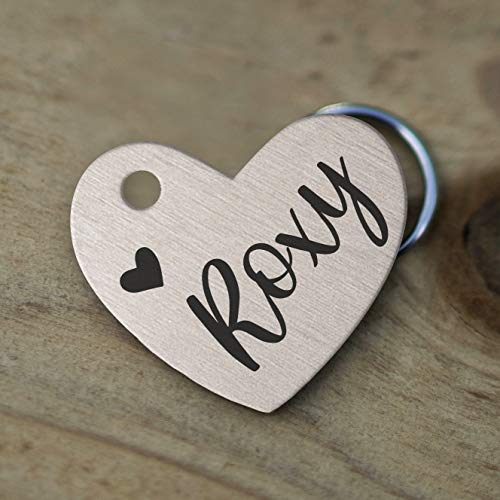 Mini Wim Stainless Steel Pet ID Tags, Personalized Dog Tag and Cat Tag, Rose Gold, and Silver, 5 Lines of Custom Text, Engraved on Both Sides, in Round, Bone, Diamond, and More (Heart)