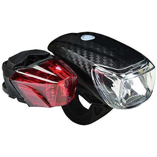 HEITECH StVZO Batterie Fahrradlicht Set - Regenfeste Fahrradbeleuchtung mit CREE LED, 150 Lumen, 100m Leuchtweite, 2 Leucht-Modi, zugelassen & abnehmbar