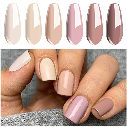 Vishine Vernis Semi Permanent, 6 Couleurs Série Nude Nu, Vernis à Ongles Gel Soak Off UV LED Manucure Cadeau Kit, 8ml