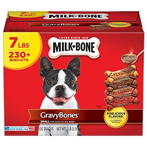 Milk-Bone Gravy Bones Dog Treats, 4 Meat Flavors Variety Pack, 7 Pound Box