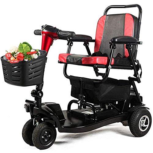 SISHUINIANHUA Travel Mobility Scooter Folding, motorisierter Rollstuhl Elektroroller Senioren, Traveller Rollators 4 Wheel with Seat Folding Rollstuhl mit Körben