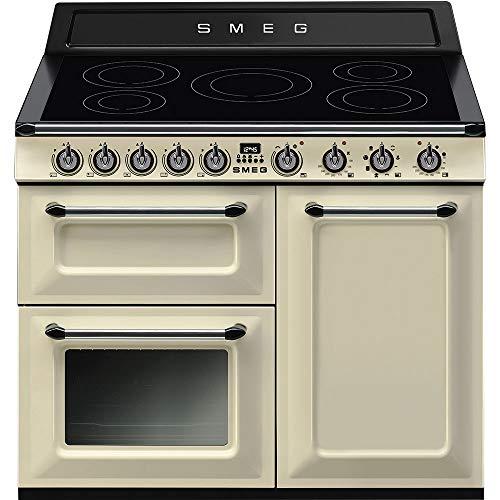 Smeg TR103IP Range cooker Con placa de inducción A Negro, Crema de color - Cocina (Range cooker, Negro, Crema de color, Botones, Giratorio, Frente, Con placa de inducción, Left front)