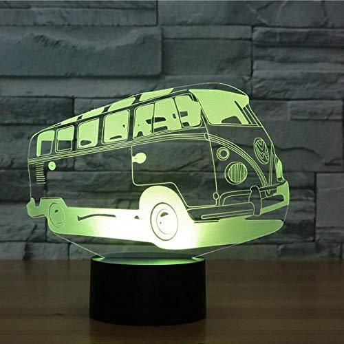 Bus 3D L 3D Infissi Lampada da tavolo a LED con decorazione a luce notturna a LED a colori visivi