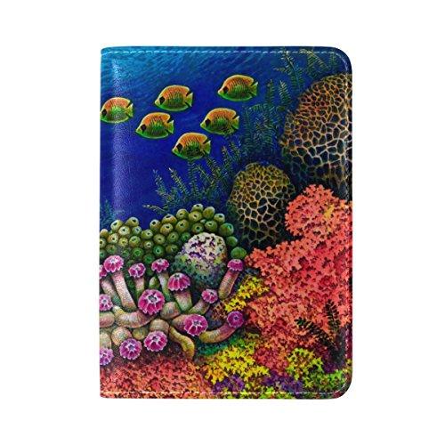 MyDaily Schutzhülle für Reisepass, aus Leder, mit Meeresfischen und Korallen, bunt