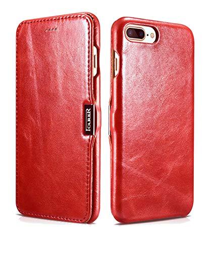 ICARER Hülle passend für Apple iPhone 8 Plus und iPhone 7 Plus (5.5 Zoll), Handyhülle mit echtem Leder, Case, Schutz-Hülle klappbar, dünne Handytasche, Slim Cover, Vintage Look, Rot