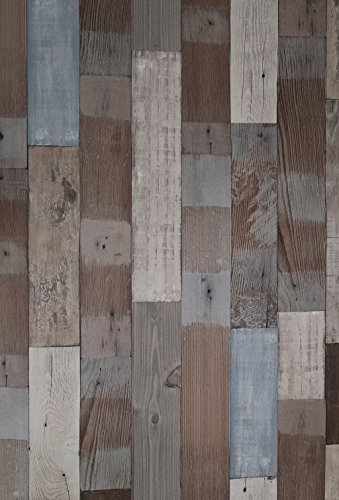 """(Strandholz, 1 Stück) Holzschutzpaneele aus Recyclingholz-Holzmaserung-Tapete Selbstklebende Abzieh- und Klebe-Wandtapete 61cm X 2M (24\"""" X 78,7\""""), 0,23mm für Tisch & Möbelgestaltung, Wohnzimmer"""