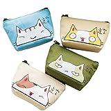 Oyachic 4 Pcs Monederos de Mujer Cat Coin Purse Linda Gato de Dibujos Monedero con Cremallera Pequeñas Mujeres Billetera Lona Bolsa de lápiz