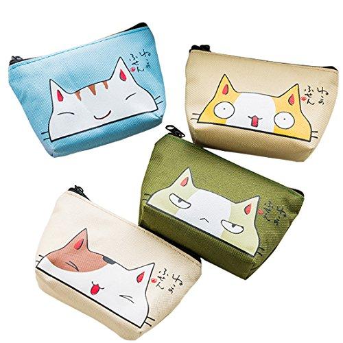 Oyachic 4 Packs Cute Coin Purse Cat Change Pouch Vintage Canvas Zipper Wallet Women Clutch Girl Mini Bag Christmas Birthday Gift Clasp Closure (4pcs Cute cat)