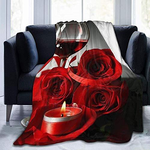 Manta personalizada, color vino tinto en copas, rosa roja y corazón decorativo sobre fondo oscuro, suave y cómoda manta de felpa para sofá, dormitorio, viaje, manta esponjosa de 106 x 127 cm