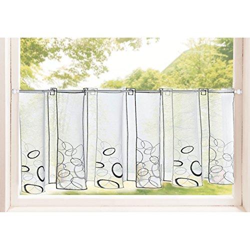 Gardinenbox Transparente Scheibengardine aus Voile, 40x120, Ada, luftiger Voile mit gesticktem Muster, 42002