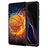 Galaxy A10E Case, AIRWEE Slim Shockproof Silicone TPU Back Protective Cover Case for Samsung Galaxy A10E,Fire and Ice Basketball Pattern