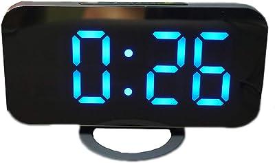 Reloj electrónico Reloj LED de Pared Simple con Espejo de LED Creativo Junto a la Cama