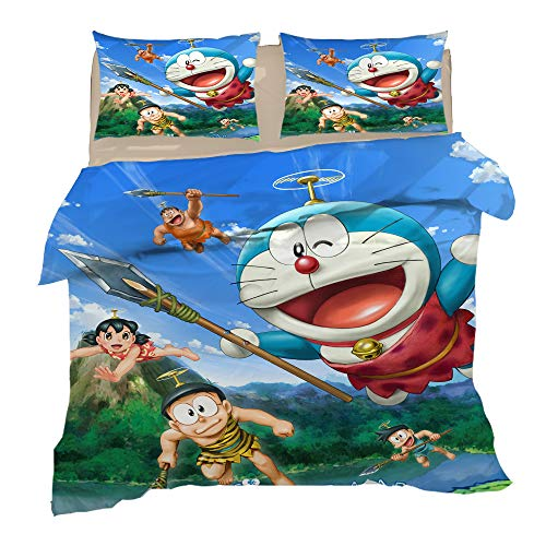 KYNWCLRW Fluffy Duvet Cover Double, 3D Digital Print Doraemon Cute Bedding, Premium Polyester-Cotton Soft Smoothduvet Cover And Pillowcase Set, For Teen (200X200Cm)