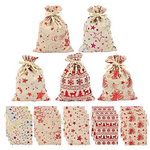 Bolsas Arpillera Navidad con Cordón LANMOK 20pcs Saco de Dulces Navideñas para almacenar Caramelo Auriculares Joyas Monedas Relojes y Otros Artículos Pequeños