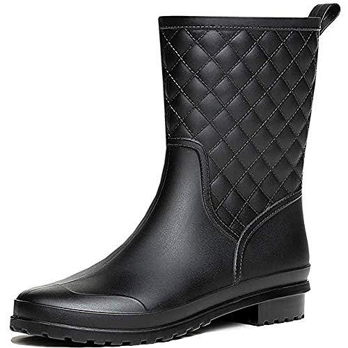 SAGUARO Frauen Gummistiefel Halbschaft Regenstiefel Damen Kurz Stiefeletten Outdoor Rain Boots Gartenarbeit Mode Wasserdicht Schuhe, Schwarz 39