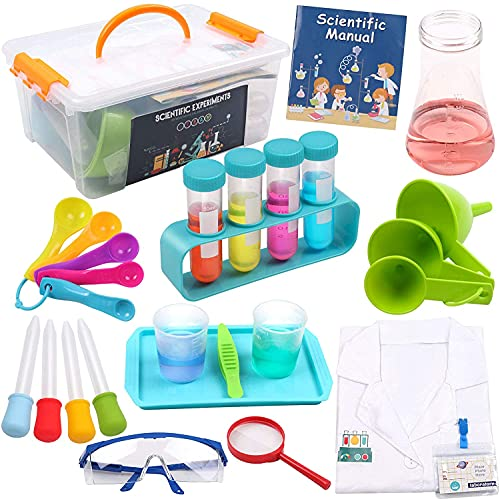 DigHealth Kids Science Experiment Kit with Lab Coat, 28 Pcs Lab Kit with Durable Storage Box, STEM Educational Toys Gift, Scientist Costume Dress Up and Role Play Toy for Boys Girls Age 5-11