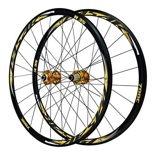 SJHFG Ruedas para Bicicleta 29 Pulgadas,Pared Doble Llanta para 700c Liberación Rápida Freno de Disco Todoterreno Volante de 7/8/9/10/11 Velocidades (Color : Yellow)