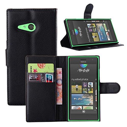 Tasche für Nokia Lumia 730 Hülle, Ycloud PU Ledertasche Flip Cover Wallet Case Handyhülle mit Stand Function Credit Card Slots Bookstyle Purse Design schwarz
