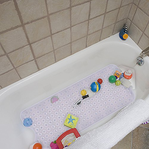 YINENN Bath Tub Shower Mat 40 x 16 Inch Non-Slip and Extra Large, Bathtub Mat with Suction Cups, Machine Washable Bathroom Mats with Drain Holes, Clear