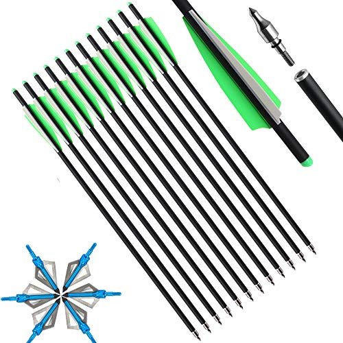 TOPARCHERY 12pcs 20 Inch Crossbow Bolts with 6pcs Hunting Broadheads, Carbon Crossbow Arrows with Hunting Tips Kit for Outdoor Practice and Hunting (Green with Blue Tips)
