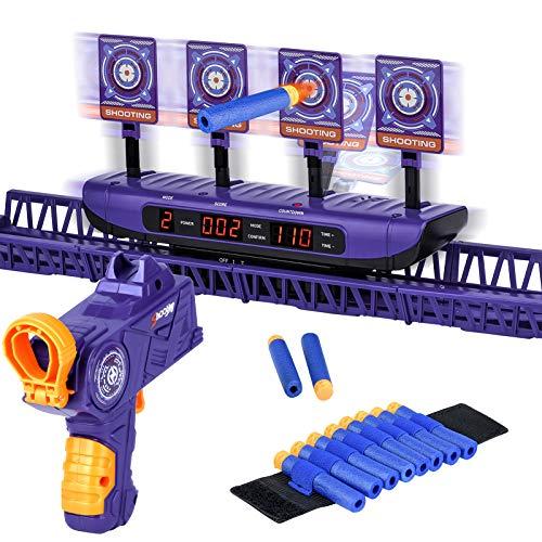 Bewegliches Zielscheibe für Nerf, Elektrische Zielscheibe mit Pistole Auto Reset Verbesserte 4 Spielmodi,Spielzeug Geschenke für Kinder und Jungen