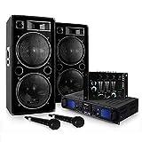 """Set DJ""""DJ-20.1"""" Amplificatore finale di potenza, Coppia di casse, mixer, microfono, karaoke (2000 Watt max, 3 linee AUX, USB ed SD, Radio FM)"""