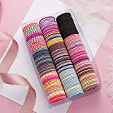 50 Pieces Hair Ties for Baby Girls,Hair Elastics Perfect for Girls & Kids with Fine Hair,Curly Hair or Sensitive Scalps,Colorful Rubber Band Children Hair Tie Ponytail Holders 3mm (A-Black 50PC)