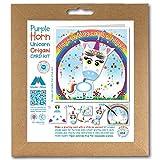 Kit de tarjetas de felicitación de origami, con diseño de unicornio azul y arcoíris y estrellas, para un cumpleaños mágico Cuadrado de 150 mm