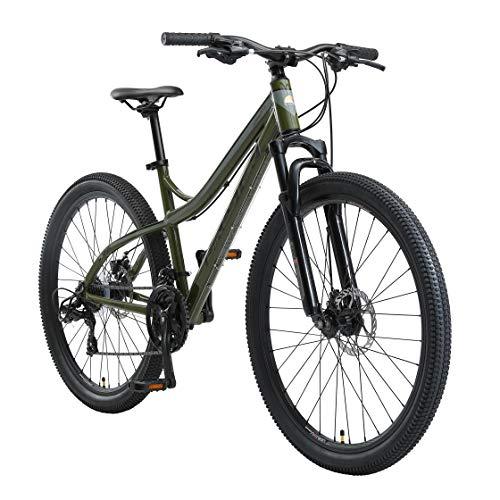 BIKESTAR Hardtail Aluminium Mountainbike Shimano 21 Gang Schaltung, Scheibenbremse 27.5 Zoll Reifen | 17 Zoll Rahmen Alu MTB | Oliv & Grau