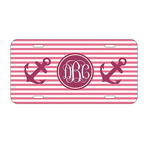 Personalized Car Tag Auto Tag Coral Striped Anchor Monogrammed License Plate Frame 6 x 12 Inch Funny Women Car License Plate