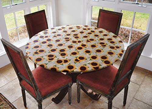 Covers For The Home Deluxe Elastic Edged Flannel Backed Vinyl Fitted Table Cover - Sunflower Pattern - Small Round - Fits Tables up to 40' - 44' Diameter