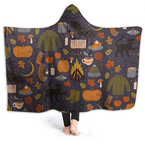 maichengxuan Hooded Blanket 3D Autumn Nights Super Soft Sherpa Fleece Blanket 80'x60'
