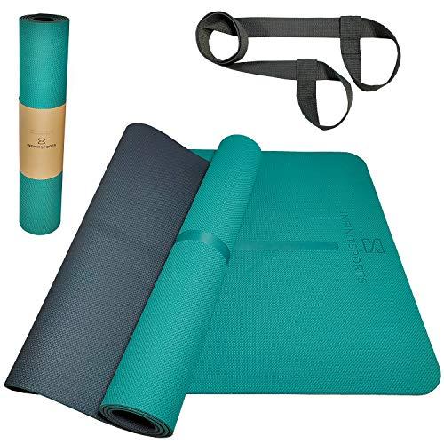 Infinitsports - TPE Yogamatte, Gymnastikmatte, Fitnessmatte, extrem rutschfest & schadstofffrei - Yoga Matte, Pilates Matte, Sportmatte mit (Yoga-) Tragegurt - 183x62x0,6cm (grün)