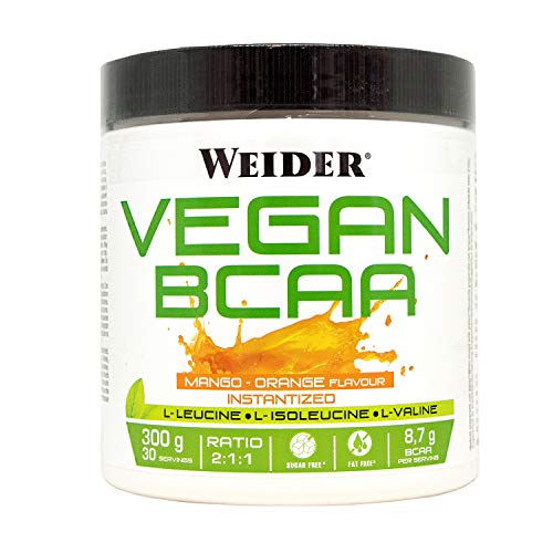 Weider Vegan BCAA 2:1:1 Mango-Orange 100% Vegan. 300 Gr. 8.7g BCAA per dose. Fat-Free, Sugar-Free
