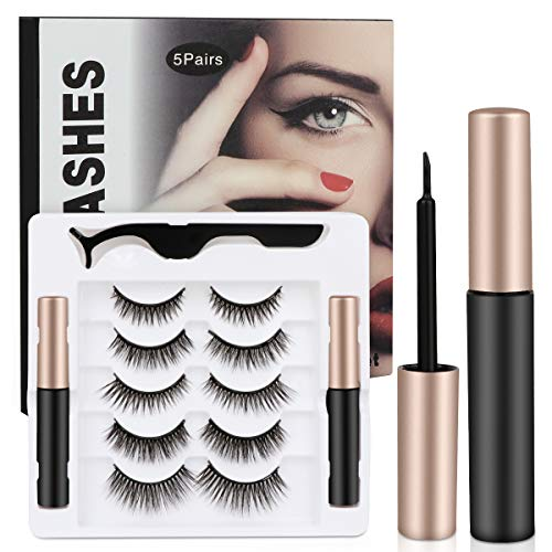 Upgraded 3D Magnetic Eyelashes and Magnetic Eyeliner Kit, 5 Pairs Reusable Magnetic Eyelashes with 2 Tubes of Magnetic Eyeliner and Tweezers Inside, Eyelashes With Natural Look - No Glue Needed