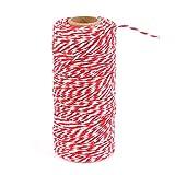 Baumwolle Bindfaden,ATPWONZ 100M Baumwolle Schnur, Bastelschnur, Baumwolle Seil zum Verpacken, Dekorieren, Basteln,Aufbinden,DIY usw. (Rot & Weiß)