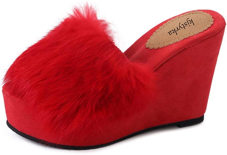 T-JULY Women Slides Sandals Fur Flock Slippers Wedges House High Hells Woman Platform shoes for Autumn or Winter