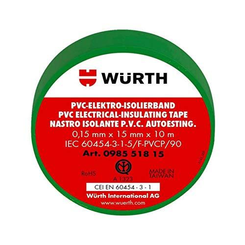 10 Nastro Isolante Verde 15mm x 10m x 0,15mm Wurth 098551815 PVC Autoestinguente IEC RoHS Adesivo elettrico elettricista 15x10 mm/m