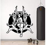 YAZCC Wandaufkleber Wandaufkleber Vinylwand Applikationen Karate Warrior Eastern Martial Arts Sports Aufkleber Übungsraum Karate Pavillon Dekoration 57X67Cm