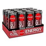Coca-Cola Energy, Energydrink mit Koffein und Guarana mit dem unverwechselbaren Coke Geschmack ohne Zucker, EINWEG Dose (12 x 250 ml)