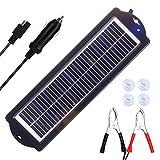 SARONIC Cargador solar de 3 W de 12 V, impermeable, portátil, de alta conversión, panel solar monocristalino para RV, motocicleta, barco, embarcación