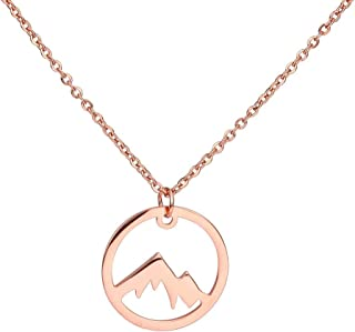 Mountain Stainless Steel Circle Pendant Necklace Skiers, Hikers, Campers, Climbers and Nature Lovers
