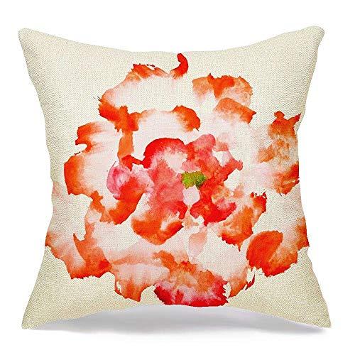 N\A Funda de Almohada de Lino Decorativa Pion Rose Red Peony Element Sun Ushin Jardín botánico Flor Pintura de Acuarela Estilo Texturas Cómoda Funda de cojín Cuadrada para sofá Cama de Coche