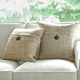 Phantoscope Set of 2 Button Beige Linen Decorative Throw Pillow Case Cushion Cover 18'X18 -New!!