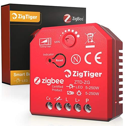 Zigtiger Interruptor regulador de intensidad LED empotrado sin conexión N, módulo de interruptor de luz oculto universal especialmente para LED 3-250 W, HAL/INC 3-300 W, color negro