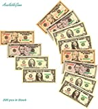 AvailableGame 10, 5, 2, 1 Dollars Play Money for Games, Pranks, Monopoly Prop Paper Copy Money Double-Sided Printing 50 pcs of Each Bill Total 200 pcs Educational Dollar Bills Stack